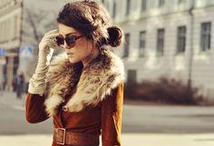 fur collar, gloves