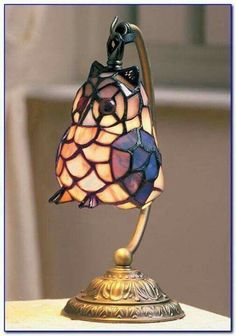 Owl stain glass lamp #StainedGlassOwl #StainedGlassLamps