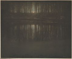 Using a painstaking technique of multiple printing, Steichen achieved prints of such painterly seductiveness they have never been equaled.  This view of a pond in the woods at Mamaroneck, New York is subtly colored as Whistler's Nocturnes, and like them, is a tone poem of twilight, indistinction, and suggestiveness