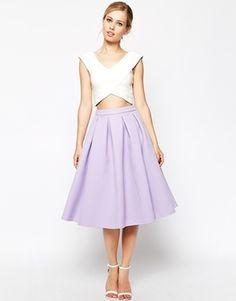 ASOS Premium Prom Midi Skirt in Bonded Crepe - Lilac