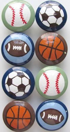 Boy's Sports KNOBS  Soccer, Football, Baseball, Basketball. $7.00, via Etsy.