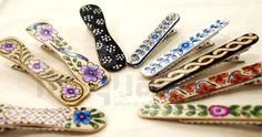 Handpainted hairpins by Isaura Marques