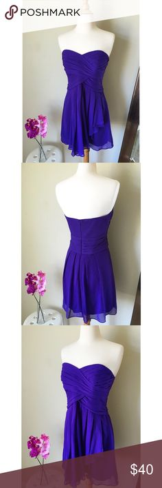 Davis Bridal Purple Sweetheart Dress💜 Davis Bridal Purple Sweetheart Dress💜 Size 4, worn once to a friends wedding, dress was a hit 😉 this dress is perfect to pair with heels or wedges. Dress zips from the back, no stains and no tears. All things from my closet come from a smoke free home😊 Follow me on Instagram:@Stylish.goodies 💕 David's Bridal Dresses Mini