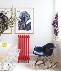 Discover fresh alternatives to popular design #trends in our online series Updated Classics! See how you can update your cast-iron radiator at houseandhome.com. [Styling: @morganmichener Photo: Angus Fergusson] #houseandhome #interior #interiordesign #design #radiator #paint #vintage #edgy #red #popofcolor by houseandhomemag