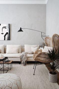 Living Room Interior, Living Room Decor, Bedroom Decor, Living Room Modern, Living Room Designs, Living Spaces, Pouf Cuir, Home Remodeling Diy, Living Room Inspiration
