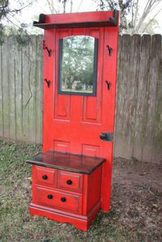 Neat old door with bench, perfect for front entry way.