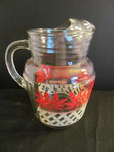 Vintage 2 quart clear glass ice lipped pitcher with painted flowers and lattice design