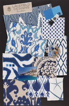 A combination of blue fabric choices.  Lacefield Designs Harbor Textile Collection