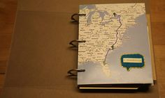 Map cover for travel journal