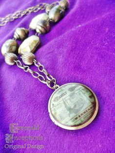 Antique Newspaper Family Marriage Locket by EmeraldInceptions, $35.50