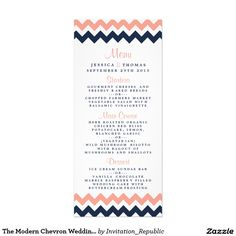 The Modern Chevron Wedding Collection- Pink & Navy Full Color Rack Card