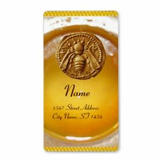 HONEY BEE ,BEEKEEPER / apiary,beekeeping supplies Personalized Shipping Label ,Backside of an ancient money from Mileto 415-394 a.C. Elegant ,classy and colorful address label design easily customizable for your business.