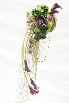 Beautiful Blooms - Modern Cascading Bouquet in Plum & Emerald Green