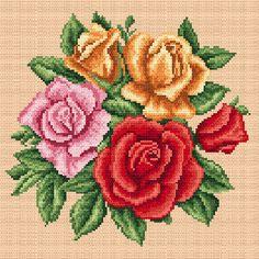 Barwne róże - Coricamo sklep - haft krzyżykowy, koralikowy, wzory bezpłatne, kanwy, Aidy z nadrukiem, sutasz, mulina, biżuteria, zestawy do haftu