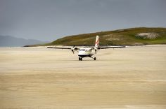 Barra in the Hebridean Islands. 1000 flights a year use the beach as a runway - when the tide is out! Life List, Civil Aviation, Islands, Scary, Weird, Commercial, Runway, Country Roads, Beach