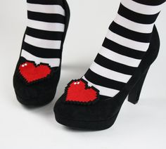 8 Bit Heart Shoe Clips, Pixel Hearts. £19.00, via Etsy.  20% off with coupon code JBBIRTHDAY (Valid until Sunday April 28, 2013)