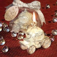 As Low As $1.74 Candle Favor/Fairytale Theme Wedding Favor - Set your tables aglow with elegant and finely detailed fairy tale magic when you use Silver and Ivory Carriage Candle to adorn your happily ever after celebration.