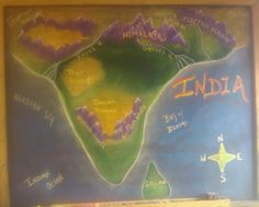 Waldorf ~ 5th grade ~ Ancient India ~ Map ~ chalkboard drawing