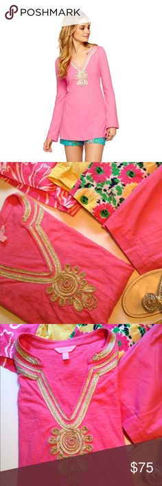 Lilly Pulitzer Emerson Tunic Hotty Pink 100% cotton V-Neck tunic in Hotty Pink. Relaxed fit. Neckline accented with gold soutache embroidery and side slits. Pair with printed Lilly shorts or white denim.  Length is 31.5 inches. Like new condition. Lilly Pulitzer Tops Tunics