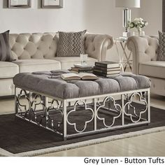 Solene Chrome Quatrefoil Base Square Ottoman Coffee Table by iNSPIRE Q Bold - On Sale - Overstock - 18594315 - Grey Linen - Button Tufts Square Ottoman Coffee Table, Ottoman Table, Coffee Tables, Home Building Design, Black Furniture, Metal Furniture, Beige, Grey, Furniture Deals