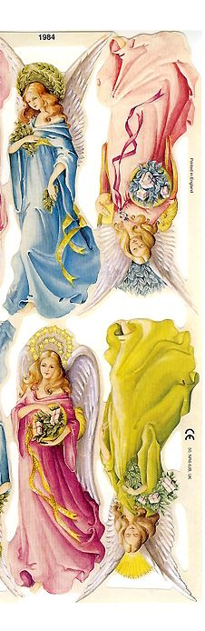 Pastel Christmas angel scraps from England
