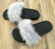 Living in Threads Faux Fur Nike Sandals in Silver Fox as seen on Kylie Jenner