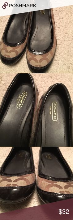 Coach flats **NEVER WORN** Size 7 Hello! Since my pregnancy my shoe size has changed and these babies no longer fit. I've never worn them, as you can see there is absolutely no wear and tear on them. Feel free to contact me for questions. Coach Shoes Flats & Loafers