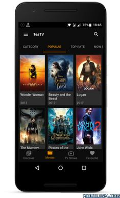 TeaTV v1.9r [Ad Free]   TeaTV v1.9r [Ad Free]Requirements:4.1Overview:TeaTV - Free 1080p Movies and TV Shows for Android Devices  What is TeaTV? The fastest easiest way to find and discover movies actors and shows.  Login? No need. You don't need to have an account when using TeaTV.  Awesome interface. TeaTV has been built from the ground up with performance in mind for a fast and efficient experience to surfing your collection.  Join now Watch trailers read reviews and get shows seasons…