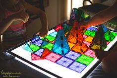 Simple Maths Provocations   Happiness is here MagnaTile play on the light table