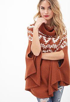Cowl Neck Poncho Sweater   Love21 - 2000059691
