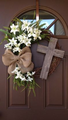 Easter Wreath with Cross - Rustic Grapevine Easter Wreath with Burlap Bow - Easter Decorations- Easter Decor - Easter Front Door Wreath, Spring decor, Spring wreath, home decor Diy Wreath, Door Wreaths, Grapevine Wreath, Wreath Ideas, Wreath Fall, Spring Wreaths, Ribbon Wreaths, Yarn Wreaths, Flower Wreaths