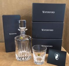 Waterford 12 Glasses & Decanter Southbridge Double Old Fashioned crystal set lot #Waterford #classic
