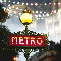 Paris Photography - Metro Sign at Night, Lamp Post, Red, Twinkle Lights… Oh Paris, I Love Paris, Paris Night, Paris Travel, France Travel, Paris Metro, French Walls, U Bahn, Paris Photography