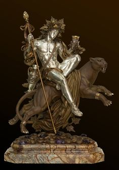dionysus - god of grape-harvest, wine-making, wine, fertility, ritual madness and theatre Classical Mythology, Greek And Roman Mythology, Bronze Sculpture, Sculpture Art, Metal Sculptures, Abstract Sculpture, Greek God Sculptures, Folklore, Roman Gods