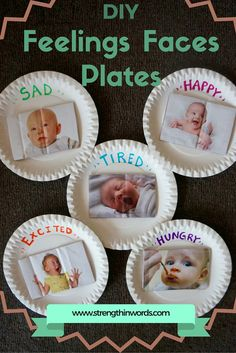 DIY Feelings-Faces Plates DIY Feelings-Faces Plates to develop emotional language perspective taking and tools for social/emotional development in infants & toddlers The post DIY Feelings-Faces Plates appeared first on Toddlers Ideas. Social Emotional Activities, Feelings Activities, Social Emotional Development, Toddler Development, Infant Activities, Preschool Activities, Language Development, Young Toddler Activities, Infant Toddler Classroom