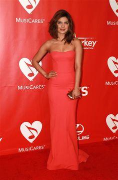 Priyanka Chopra style - strapless coral gown - 'Quantico' star Priyanka Chopra's chic style