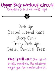 Upper Body Workout Circuit  http://jessieloves2run.com/2014/06/17/upper-body-workout-circuit/