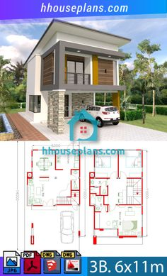 Do you want to get free plan and more ideas about house plans please visit our website to see. All are free in the link below Three Story House, One Story Homes, 3d Home Design, Home Design Plans, House Front Design, Small House Design, Narrow House, Flat Roof, Small House Plans