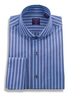 Mens Regular Fit Cutaway Collar French Cuff Cotton Striped Dress Shirt #PrivateLabelM