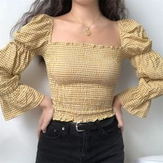 Plaid retro court sleeves slim pleated top, You can collect images you discovered organize them, add your own ideas to your collections and share with other people. Fashion 90s, Ulzzang Fashion, Korean Fashion, Fashion Looks, Fashion Outfits, Womens Fashion, Korean Outfits, Trendy Outfits, Cool Outfits