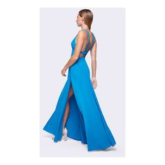 Fame & Partners | Ocean (Blue) Bella Vita Dress ($249) ❤ liked on Polyvore featuring dresses, gowns, ocean, v-neckpleatedsplitbackless, blue formal gown, blue prom dresses, formal ball gowns, blue evening gown and prom gowns
