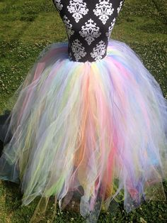 My Sister is Better then Yours!!!! She made this beautiful Tutu on sale on Etsy. Sherbet Pastel Rainbow and White Full Length Long Adult Prom Formal Bridal Tutu Skirt