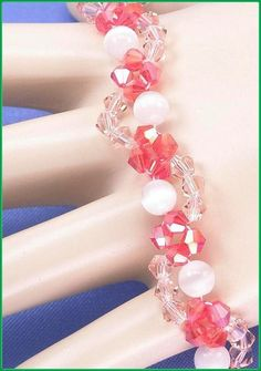 05-356 Red and Water Red Bicone with White by annsbeadedjewelry