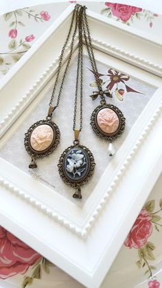 Perfect+necklaces+for+classic+lolita+and+mori+girl+outfits+with+a+bird+&+rose+cameo+and+a+pearl+drop+or+rose+pendant.