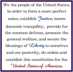 When I was in junior high school, we were required to memorize the Preamble to the Constitution. I wonder if that is still taught to our young people. I can still recite it to this day. I Love America, God Bless America, Happy 4 Of July, Fourth Of July, American Pride, American History, Happy Everything, How To Start Homeschooling, Home Of The Brave