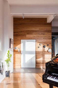 Wooden accent wall for the living room