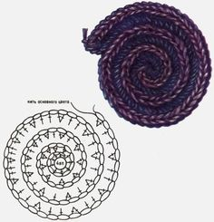 Crochet Round Cord Tutorial Get more videos . Yarn is cotton, the meterage is 169 meters in 50 grams. Crochet Patterns Tutorial Caterpillar cord of lush columns and air . How to Make a Crochet Spiral Cord Tutorial 128 The video tutorial is wel Art Au Crochet, Mandala Au Crochet, Spiral Crochet, Crochet Motifs, Crochet Flower Patterns, Freeform Crochet, Crochet Diagram, Crochet Stitches Patterns, Crochet Squares