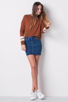 High waist jeans skirt