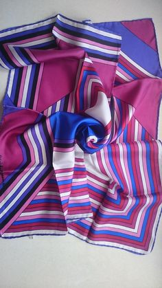 Pure Silk Square Scarf - Retro Stripes - Perfect Unused Stock from 1980s by JohnTjadenScarves on Etsy