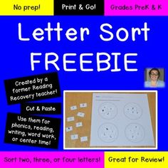 Alphabet Sort - Let your preschool, Kindergarten, and 1st grade students practice their letter recognition with this FREE download! There are five pages included so your students will get plenty of practice or you can differentiate and give students the 2, 3, or 4 letter sort! FREE